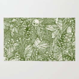 forest floor green ivory Rug