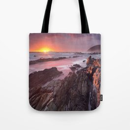 Sunset over the ocean in Garden Route NP, South Africa Tote Bag