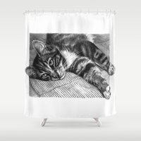 Resting Kitty G064 Shower Curtain