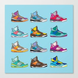 Colorful Sneaker set illustration blue illustration original pop art graphic print Canvas Print