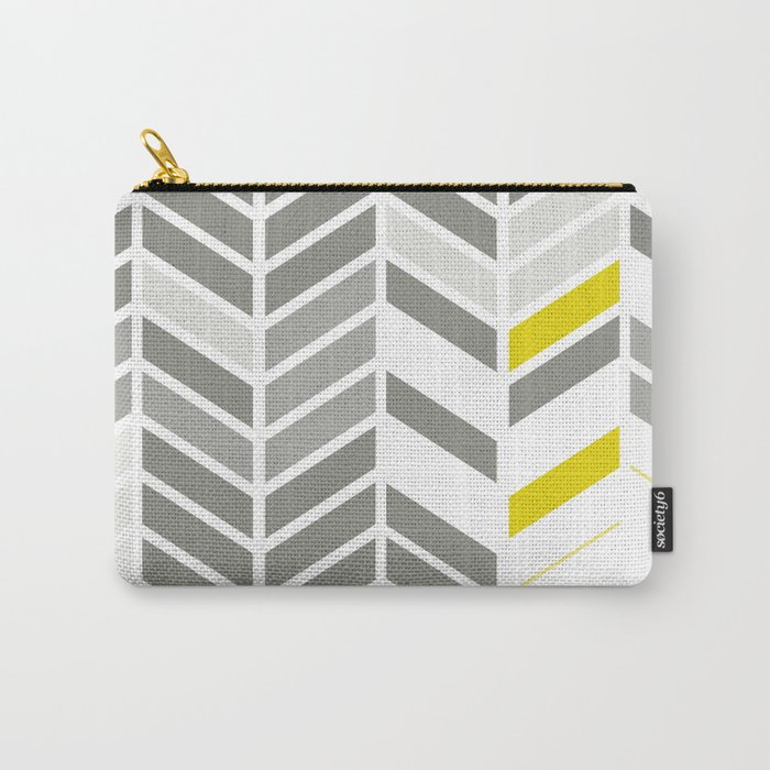 Deconstructed Chevron A – Gray / Yellow / Orange Pattern Print Carry-All Pouch