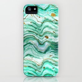 Green Geode Watercolor iPhone Case