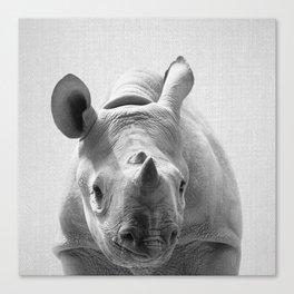 Baby Rhino - Black & White Canvas Print