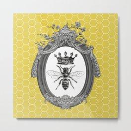 Queen Bee | Vintage Bee with Crown | Honeycomb | Metal Print