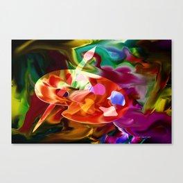 Artist Palette In Neon Colors By Annie Zeno  Canvas Print