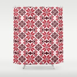 Romanian Traditional Embroidery - Red Shower Curtain