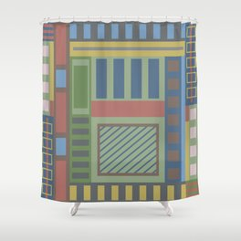 Geometric abstract in trendy colors Shower Curtain