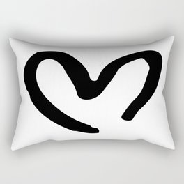 Black and White Heart Rectangular Pillow