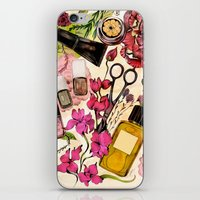 nail polish iPhone & iPod Skins featuring Nail polish and peonies  by Felicia Cirstea