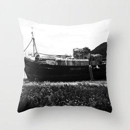 Shipwreck on the beach Throw Pillow