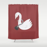 captain hook Shower Curtains featuring Captain Swan by Cynaroni