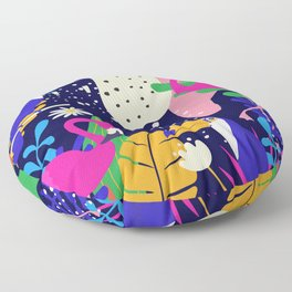 Colorful tropical forest flamingos and parrot Floor Pillow