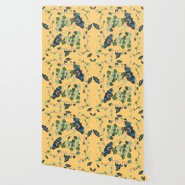 2941-Australian-Native-Violet-and-Blue-Butterfl Yellow Wallpaper
