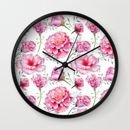 Blush pink green hand painted watercolor roses floral Wall Clock