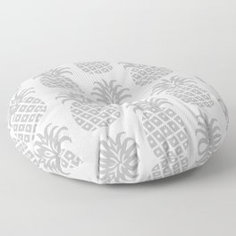Retro Mid Century Modern Pineapple Pattern Gray Floor Pillow