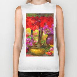 TROPICAL PINK ORCHIDS RED AMARYLLIS STILL LIFE PAINTING Biker Tank