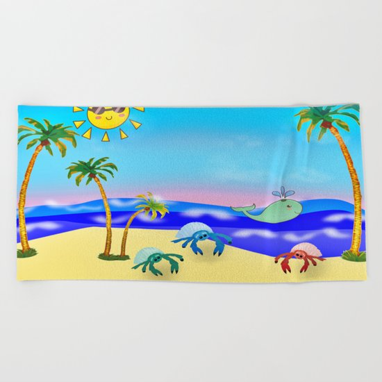 Beach Party for the Baby Crabs Beach Towel