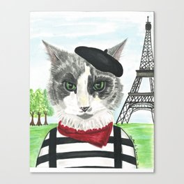 French Cat Mime in Paris Canvas Print