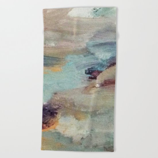 Gentle Beauty [5] - an elegant acrylic piece in deep purple, red, gold, and white Beach Towel