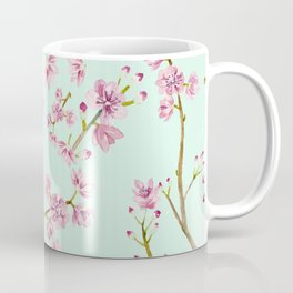 Spring Flowers - Mint and Pink Cherry Blossom Pattern Coffee Mug