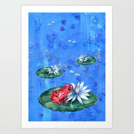 Red Frog on Lily Pad Art Print