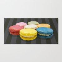 macaroon Canvas Prints featuring geometric macaroon sweet by artsimo