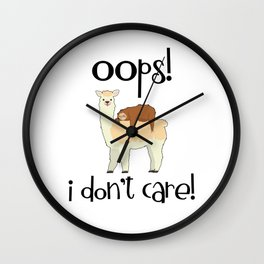 I Don't Care Sloth Llama Lover Sarcasm Sarcastic Misanthrope Wall Clock