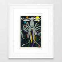 cthulu Framed Art Prints featuring Darrell Merrill Nerd Artist CTHULU PRIEST by Nerd Artist DM