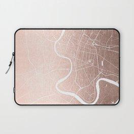 Bangkok Thailand Minimal Street Map - Rose Gold Pink and White II Laptop Sleeve