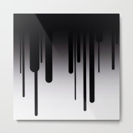 Black and White Paint Dripping Abstract Metal Print
