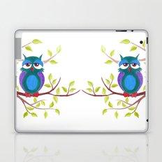 Sleepy owl cartoon Laptop & iPad Skin