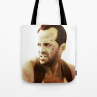 die hard Tote Bags featuring Die Hard by Alexia Rose