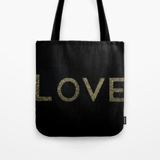 Gold Glitter Love Tote Bag
