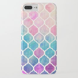 Rainbow Pastel Watercolor Moroccan Pattern iPhone Case