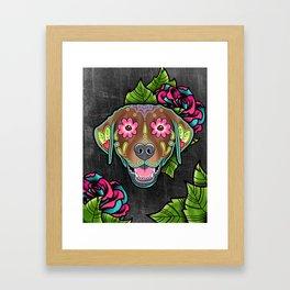 Labrador Retriever - Chocolate Lab - Day of the Dead Sugar Skull Dog Framed Art Print