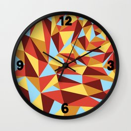 Triangle sunset hues Wall Clock