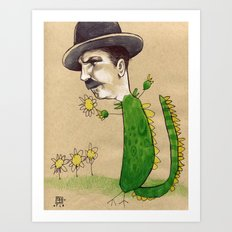 Dragon Guy with Flowers Art Print