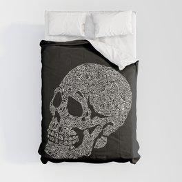 Skull doodle pattern - white on black - trippy art Comforters
