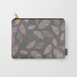 Rose gold hand drawn boho feathers hand drawn grey industrial concrete cement Carry-All Pouch