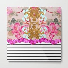 Fashion Girly Pink Vintage Floral Trendy Stripes Pattern Metal Print