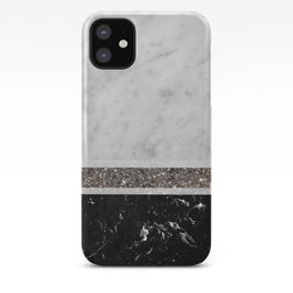 White and Black Marble Silver Glitter Stripe Glam #1 #minimal #decor #art #society6 iPhone Case