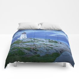 Lighthouse at Peggy's Cove in the Moonlight Comforters
