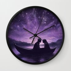 Lovers Under A Starlit Sky Wall Clock