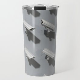 Group of cctv cameras pointing at the same direction except one Travel Mug