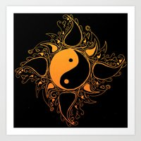 yin yang Art Prints featuring Yin & Yang by #dancingpenguin