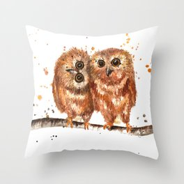 Fuzzy Baby Owls Throw Pillow