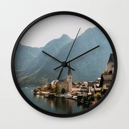 Village with lake and mountains Hallstatt, Europe | Austria | Travel photography | art photo print Wall Clock