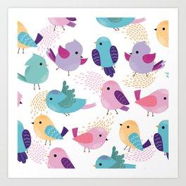 Lovely Cartoon Birds Pattern Art Print
