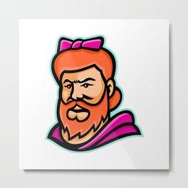 Bearded Lady Mascot Metal Print