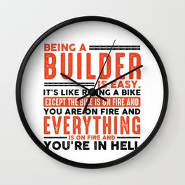Being a Software Developer Is Easy Shirt Everything On Fire Wall Clock